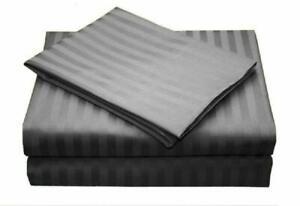 ~4 PCs Sheet Set 100% Egyptian Cotton Deep Pocket Flannel Dark Grey Striped