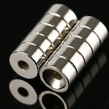 Cylinder Ring 10 x 5mm Hole 3mm Rare Earth Super Strong N35 Magnets Craft 10Pcs