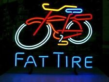 "New Fat Tire Neon Light Sign 17""x14"" Beer Gift Bar Real Glass Artwork Belgian"