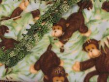 """Handmade Baby Boys Green Fleece Jungle Animal Monkeys Blanket 30"""" x 38"""" Monkey"""