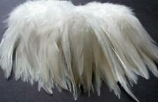 Ivory Off White Natural Rooster Saddle Hackle Strung Feathers    US Seller