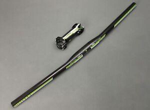 3K Carbon Fiber Handlebar Flat Riser Bar Stem Kit Mountain Bike Handlebar 31.8mm