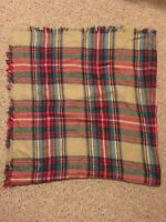Women Oversized Blanket Scarf Wrap Shawl Plaid Cream Green Red Cozy