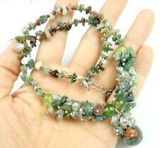 Natural Indian agate &Crystal bead Ladie Handmade Gem pendant Jewellery Necklace