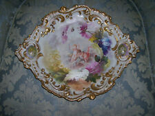 Limoges Rococo Charger/Plaque; Gold Accented Border, Handles; Cherubs & Mums (2)