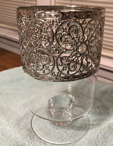 Beautiful Pier 1 Glass Candle Holder (8-Inch, Silver Top, Clear Glass)