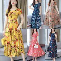 Plus Size Floral Print Slim Long Dress Women Ladies O-neck Short Sleeve Dresses