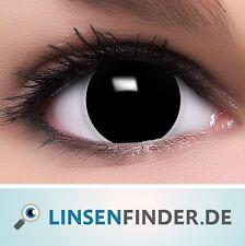 """Farbige Kontaktlinsen schwarz """"Hexe"""" + Behälter schwarze Halloween Linsen Fun"""