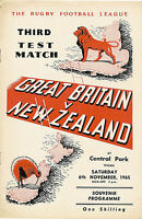 Great Britain v New Zealand 3rd Test 6 Nov 1965 Wigan RUGBY LEAGUE PROGRAMME