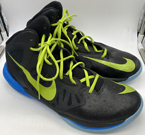 Nike Prime Hype DF Black Volt Blue Sparkle High Tops US 11 Basketball 683705-007