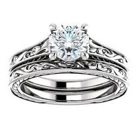 1.20 Ct Round Cut Diamond Filigree Engagement Ring Set H,VS2 GIA 18K White Gold