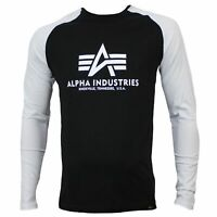 Alpha Industries Herren Longsleeve BASIC black white LS in Größe M bis 3XL