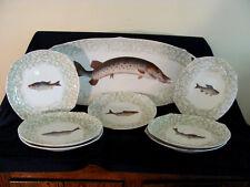 Tressemann-Vogt (TV) Limoges Handpainted Fish Platter & Plates- Fish Serving Set