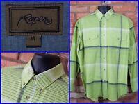 Roper Green Check Canvas Btn Down Rodeo Cowboy Western Work Shirt Mens Med