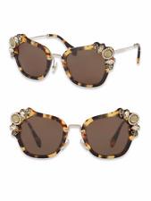 Miu Miu by Prada sunglasses SMU03S Crystal-Embellished Havana $530