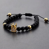 Women Men's Gold Plated Crown Bracelet Polish Matte Stone Bead Fashion Bracelet