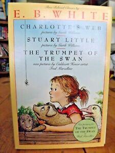 E. B. White  Charlotte's Web, Stuart Little The Trumpet of the Swan Book Lot Set