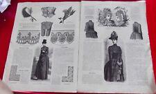 Ancienne Revue la mode illustrée n°11 1888 Manteau de Pluie chapeau fille parure