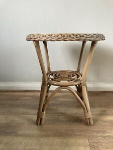 Vintage Bamboo Cane Wicker Rattan Boho Tiki Side Coffee Lamp Table Plant Stand