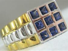ESTATE SQUARE BLUE SAPPHIRE 18KT W&Y GOLD SCREW JUBILEE MENS RING 9.25 #S1373.14