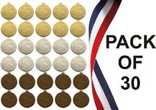 PACK OF 30 GYMNASTIC MEDALS 10 GOLD 10 SILVER 10 BRONZE FREE MEDAL RIBBONS MP