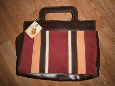Vtg NWT Victoria's Secret Brown Rust Gold Suede Leather Purse Clutch Rapture