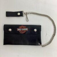 """Harley Davidson 7"""" Bifold Leather Biker Trucker Chain Wallet"""