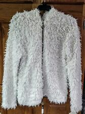 NWT Self Esteem Off-White Shaggy Fur Hooded Jacket - Jr. Girls Size Large