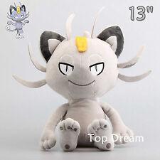 PK Sun Moon Alola Meowth Gray Plush Toy Soft Stuffed Animal Doll 12'' Teddy