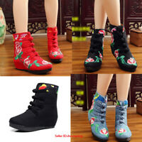 Womens Chinese Embroidered Boots Folk Vintage Shoes Floral Ankle Cotton Boots