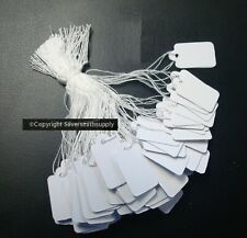 100 White Paper Jewelry Price Tags Write On Label String Attch 34 X 12 Pt007