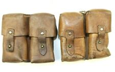 2 x YUGOSLAVIAN ARMY M48 MAUSER JNA LEATHER DUO AMMO POUCHES (NO1)