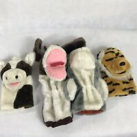 VTG 80s Dakin Animal Tiger Dog Cow Shark Hand Puppet Doll Plush Toy lot of 4