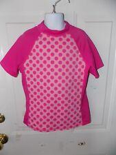 Lands' End Pink Polka Dot Rash-guard Swim Shirt Size M Girl's EUC