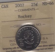 2007 Canada HOCKEY Twenty-Five Cents Coin. Quarter. ICCS MS-66