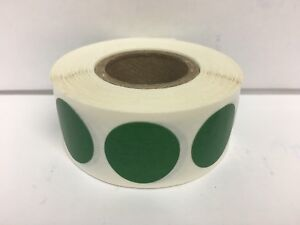 """1-1/2"""" Round FOREST GREEN Color Coding Warehouse Inventory Labels (1000/Roll)"""