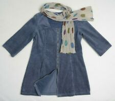 GUDRUN SJODEN WOMEN CORDUROY TUNIC CARDIGAN JACKET M BLUE + DOTTED SCARF COTTON