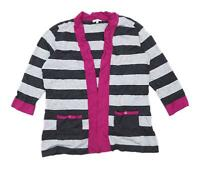 Country Casuals Womens Size M Striped Grey Cardigan (Regular)