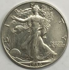 1938 Walking Liberty Half Dollar 50c Extremely Fine +