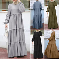 Womens Long Sleeve Tiered Layered Kaftan Muslim Abaya Dubai Maxi Dress Plus Size