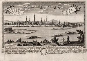 Slovakia Komarno Original Copperplate I.C.Leopold 1720