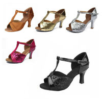 Brand New Women's Ballroom Latin Tango Dance Shoes heeled Salsa 4 Colors 259-S
