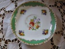 "Vintage 5 1/2"" Saucer Ye Old English Grosvenor China Green Rim Fruit J&G England"