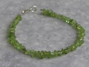 """Semi Precious Stone Peridot Bracelet  7½""""   (bz2)"""