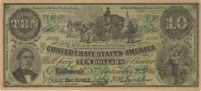 1861 10 DOLLARS CONFEDERATE FACSIMILE POLITICAL ADVERTISING NOTE BANKNOTE BILL