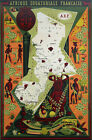 """Cool Retro Travel Poster *FRAMED* CANVAS ART French Africa Map 24x16"""""""