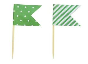 24 x Green Cup Cake Toppers - Flags - Dots & Stripes - Cake Decorations