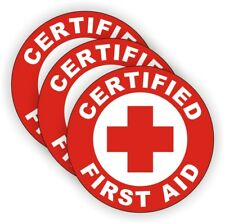 Certified First Aid Hard Hat Stickers | AED EMT Firefighter Rescue Helmet Decals