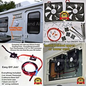 2 DOMETIC NORCOLD add on cooling Fans SMFK2C, ON/OFF Thermostat, SHIPS TODAY!