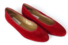 WOMENS SAKS FIFTH AVENUE VELVET BALLET FLATS RED SZ 9.5 MADE ITALY SHOES LOAFERS